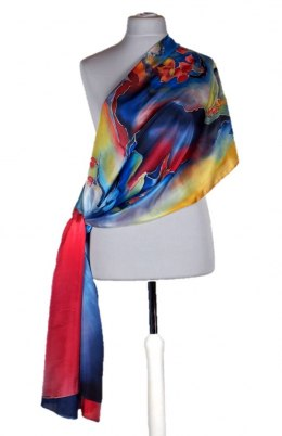 Large Multicolored Silk Scarf Hand Painted, 250x90 cm