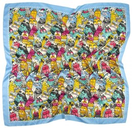 AP-005 Large Printeded Cats Scarf, 90x90