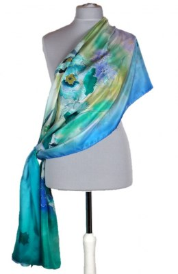 Large Green-blue Hand-Painted Silk Scarf, 250x90cm