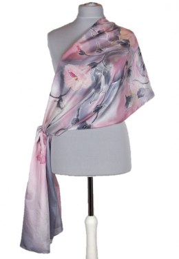 Large Gray-Pink Hand-Painted Silk Scarf, 250x90cm