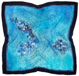 AM-485 Turquoise Hand Painted Silk Scarf, 90x90cm