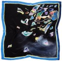 AM-486 Hand-painted silk scarf, 90x90cm (1)