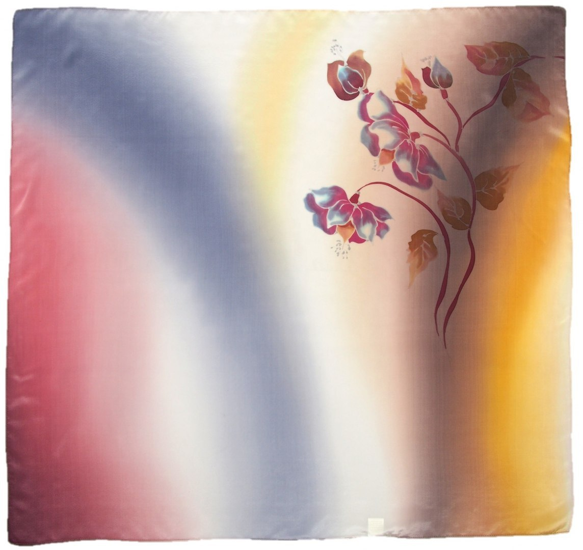 AM-673 Hand-painted silk scarf, 90x90cm