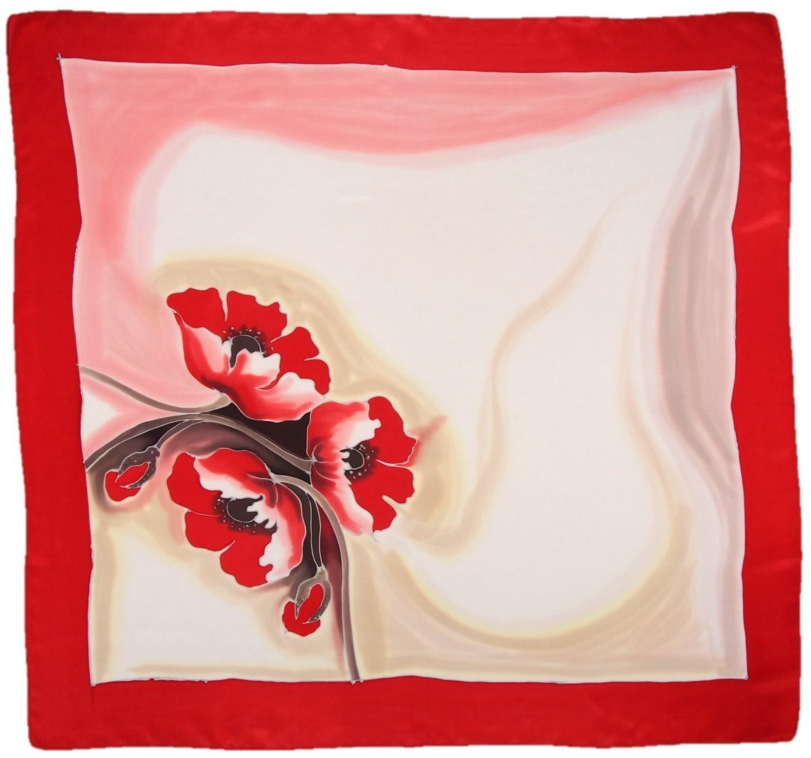 AM-676 Hand-painted silk scarf, 90x90cm