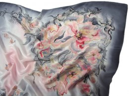 Hand-painted silk scarf, 110x110cm