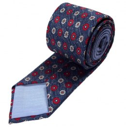 Navy silk tie with flowers - MILANO