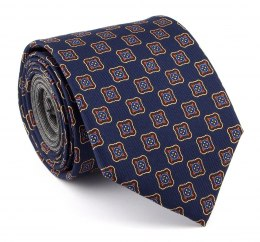 Navy silk tie with Rosettes - MILANO