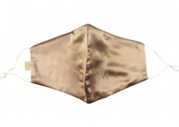 Silk mask with filter pocket - Light brown