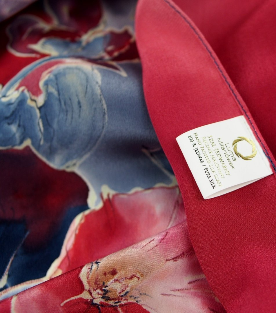 SZ-323 Blue-Red Hand Painted Silk Scarf, 170x45 cm