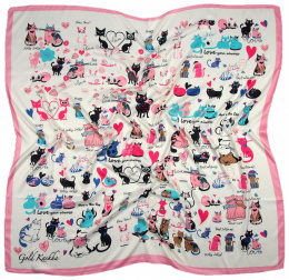 AP-006 Large Printeded Cats Scarf, 90x90