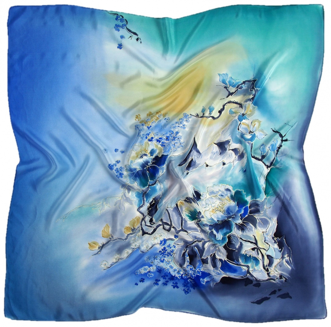 AM-684 Hand-painted silk scarf, 90x90cm (1)