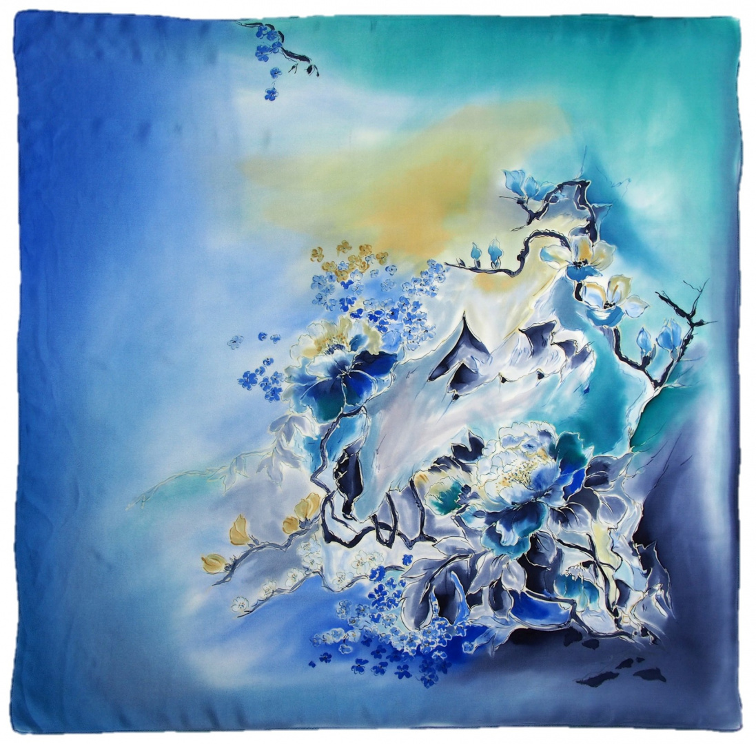 AM-684 Hand-painted silk scarf, 90x90cm (2)