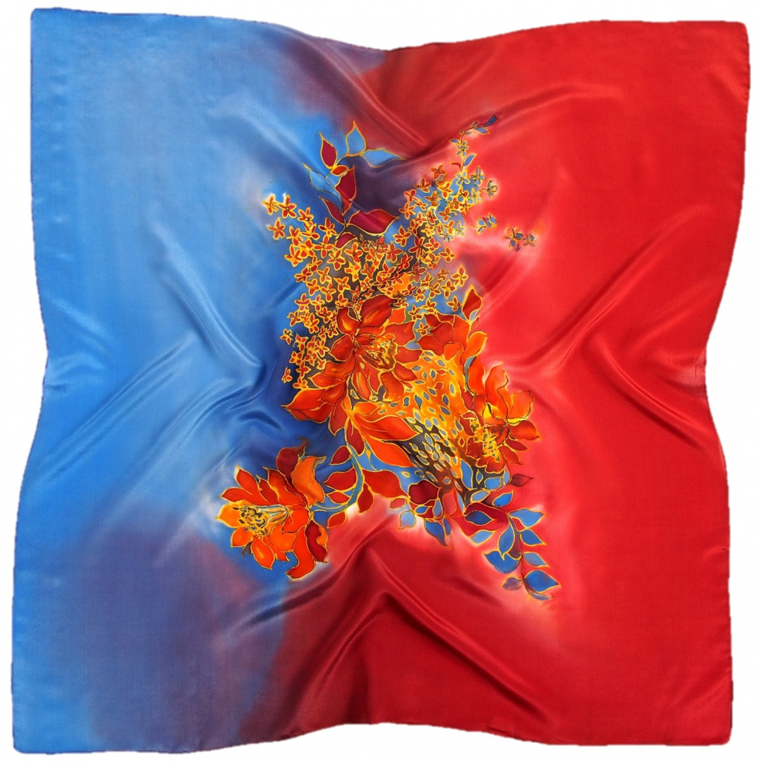 AM-685 Hand-painted silk scarf, 90x90cm (1)