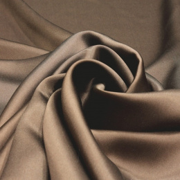 Dark brown silk satin scarf, 90x90cm