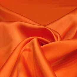 Orange silk satin scarf, 90x90cm