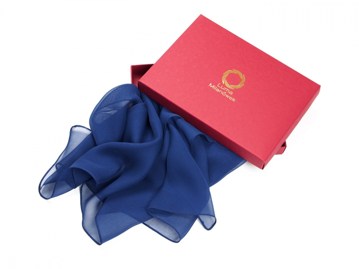 SZM-049 Large Blue and Navy Hand-Painted Silk Scarf, 250x90cm