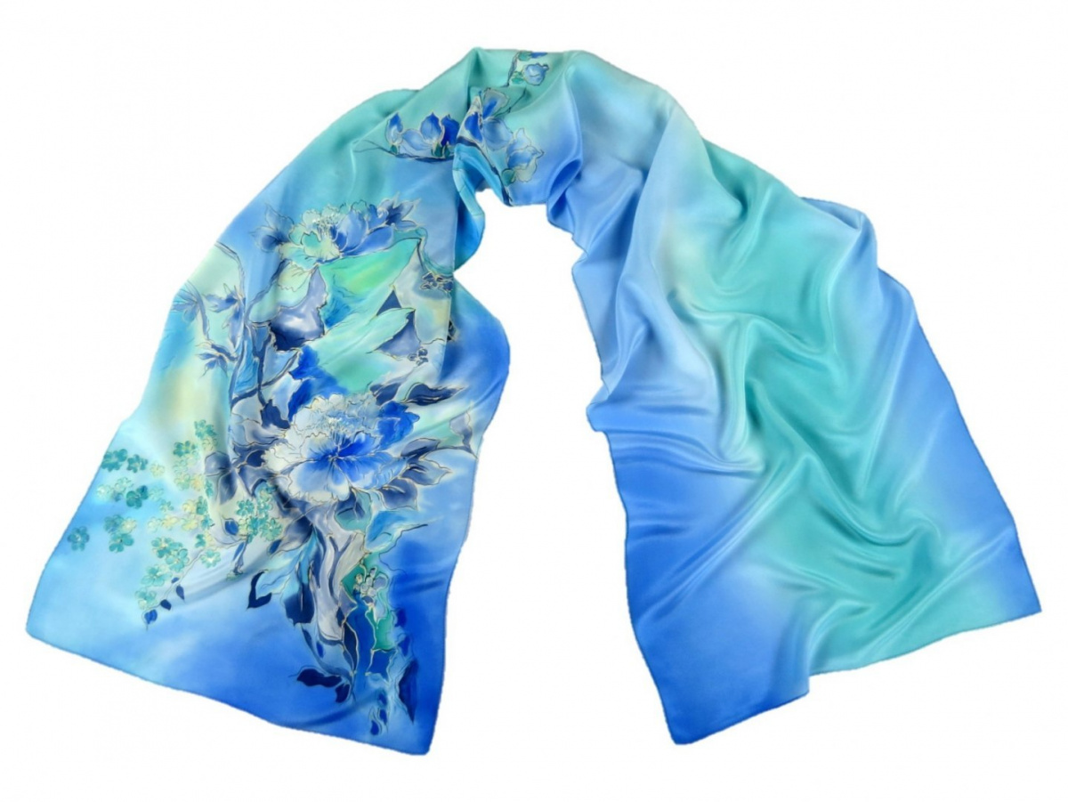 Blue-green silk scarf hand-painted, 170x45 cm
