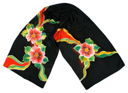 Black Hand Painted Silk Scarf, 170x45 cm