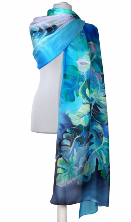 Large Blue and Navy Hand-Painted Silk Scarf, 250x90cm