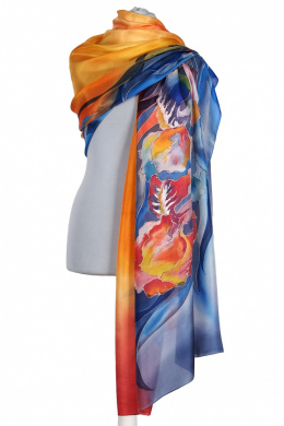 Large Blue and Orange Hand Painted Silk Scarf, 250x90cm