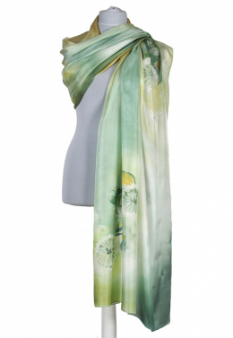 Large Green Hand-Painted Silk Scarf, 250x90cm