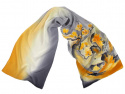 Gray-yellow silk scarf hand-painted, 170x45 cm