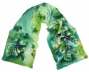 Green Hand Painted Silk Scarf, 170x45 cm