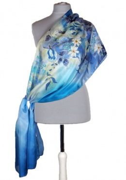 SZM1-044 Large Blue Hand-Painted Silk Scarf, 180x45cm