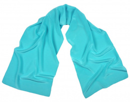 Turquoise Crepe Silk Scarf, 170x45cm