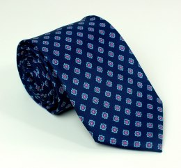 Navy blue tie with geometric pattern