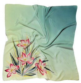 AM-198 Hand-painted silk scarf, 90x90cm