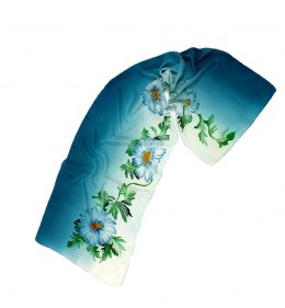 Blue-beige Hand Painted Silk Scarf, 170x45 cm