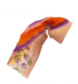SZ-073 Brown-orange silk scarf hand-painted, 170x45 cm
