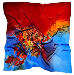 AM7-197 Hand-painted silk scarf, 70x70 cm