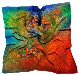 AM7-205 Hand-painted silk scarf, 70x70 cm