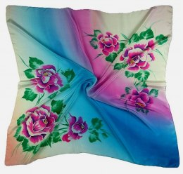 AM-188 Hand-painted silk scarf, 90x90cm