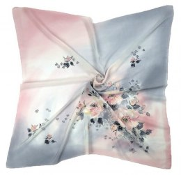 AM-452 Gray-pink Hand Painted Silk Scarf, 90x90cm