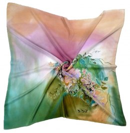 AM-220 Multicolor Hand Painted Silk Scarf, 90x90cm