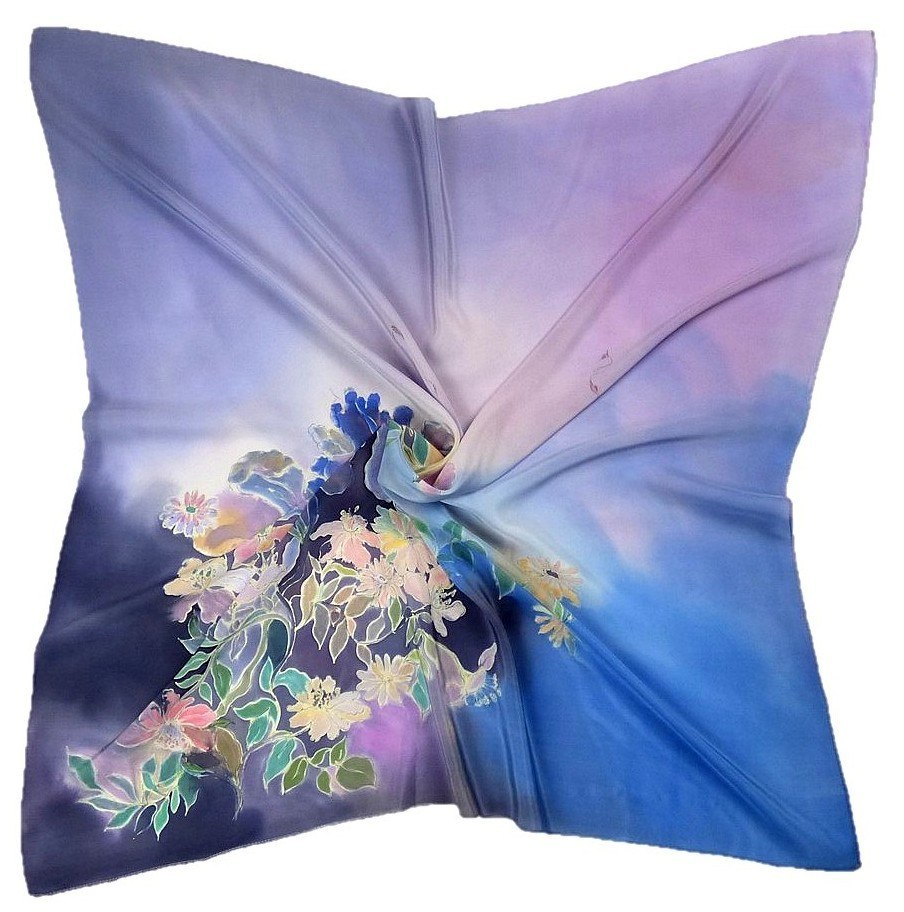 AM-224 Hand-painted silk scarf, 90x90cm (1)