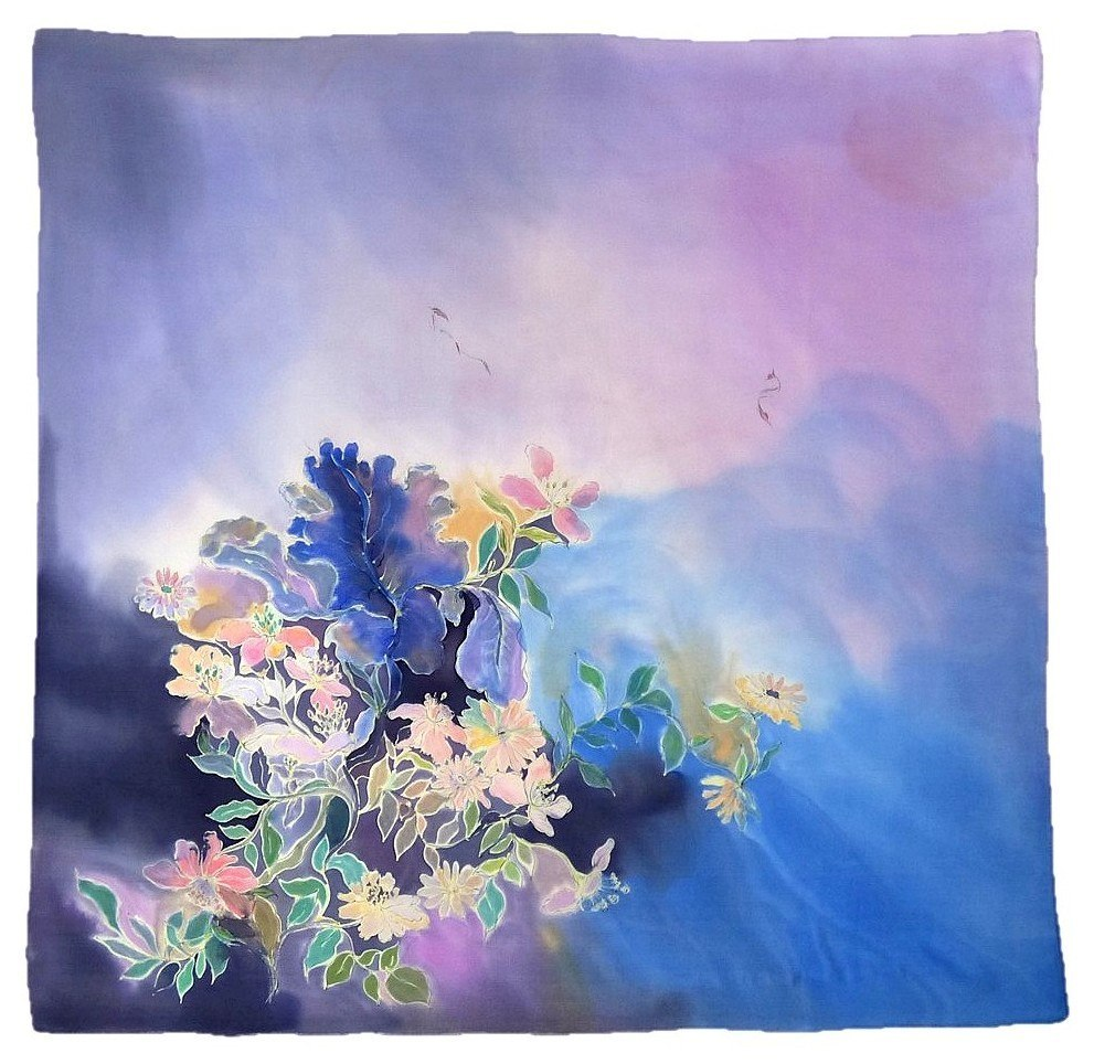 AM-224 Hand-painted silk scarf, 90x90cm (2)