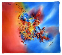 Hand-painted silk scarf, 90x90cm