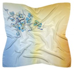 AM-285 Hand-painted silk scarf, 90x90cm