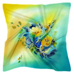 AM-524 Hand-painted silk scarf, 55x55 cm
