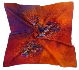 AM7-196 Hand-painted silk scarf, 70x70 cm