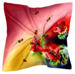 AM7-213 Hand-painted silk scarf, 70x70 cm