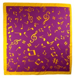 AN-003 Large Silk Scarf with Sheet Music, 85x85 cm