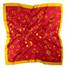 AN-002 Large Silk Scarf with Sheet Music, 85x85 cm