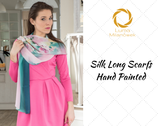 Silk Long Scarfs Hand Painted